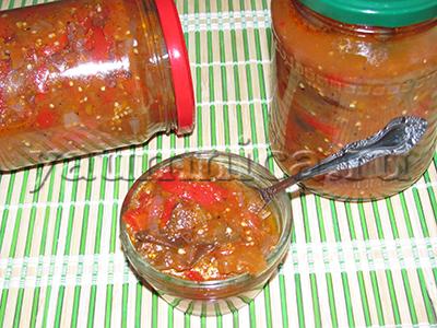 салат из помидоров и баклажанов на зиму