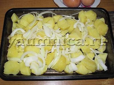 картофельная запеканка с колбасой рецепт