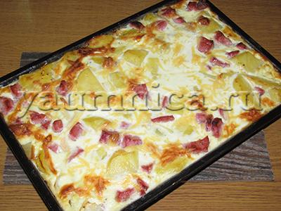 Простая картофельная запеканка с колбасой пошаговый рецепт