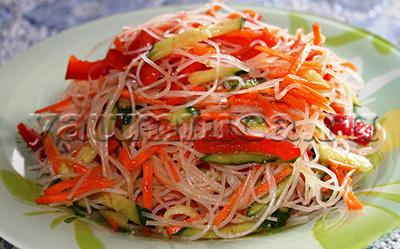 фунчоза с овощами рецепт