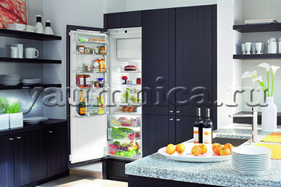 Встраиваемый холодильник в интерьере кухни