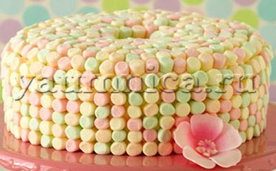 оформление торта маршмэллоу