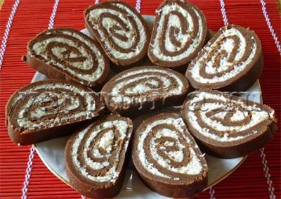Домашний шоколадный рулет без выпечки из печенья пошаговый рецепт фото