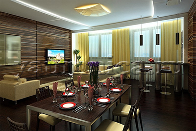 как создать дизайн гостиной столовой