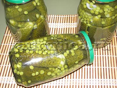 Консервированные огурцы с зеленым горошком пошаговый рецепт