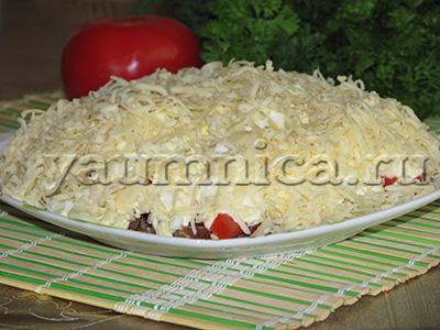 салат с копченой колбасой пошаговый рецепт фото
