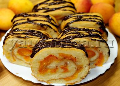 рулет с абрикосами рецепт