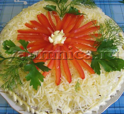 Рецепт праздничного салата с пошагово