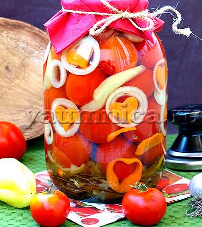 Вкусные помидоры на зиму с луком рецепт